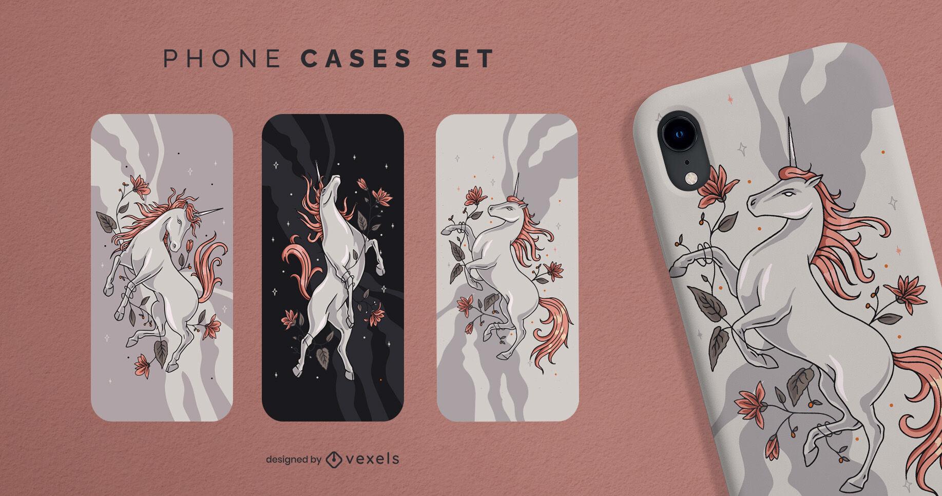 Conjunto de capa de telefone para criatura mágica de unicórnio