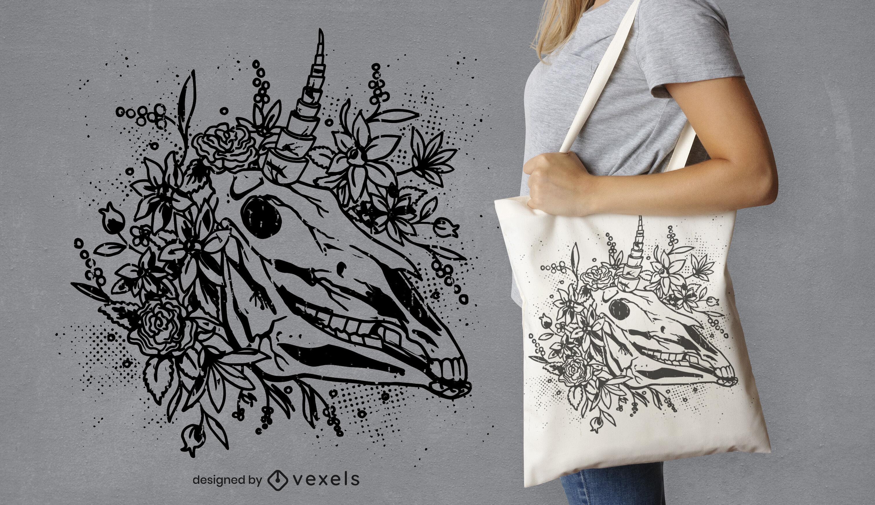 Design de sacola com cabeça de unicórnio escuro e caveira