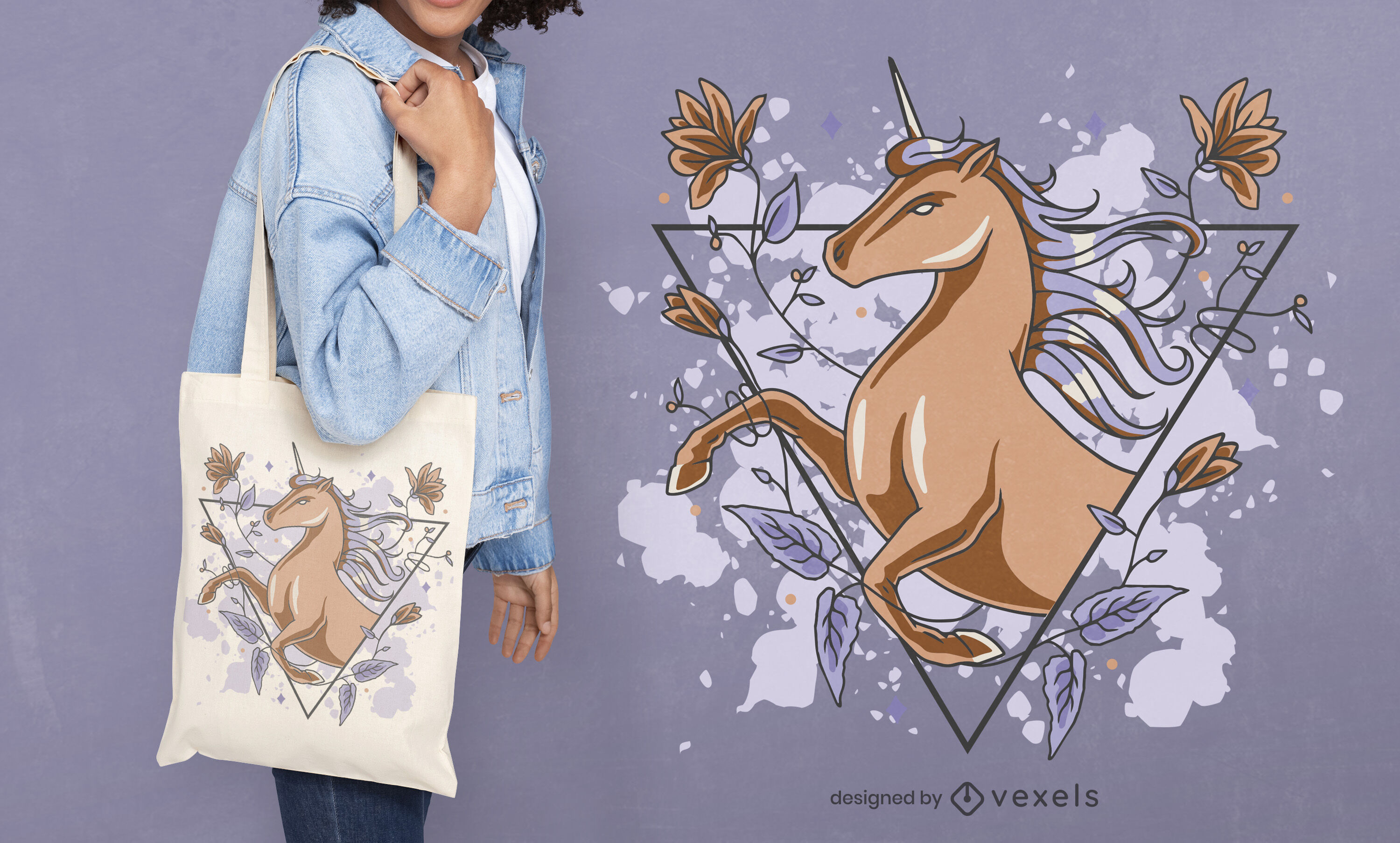 Magical unicorn and flowers tote bag deisgn