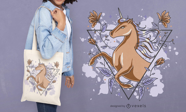 Magische Einkaufstasche mit Einhorn und Blumen