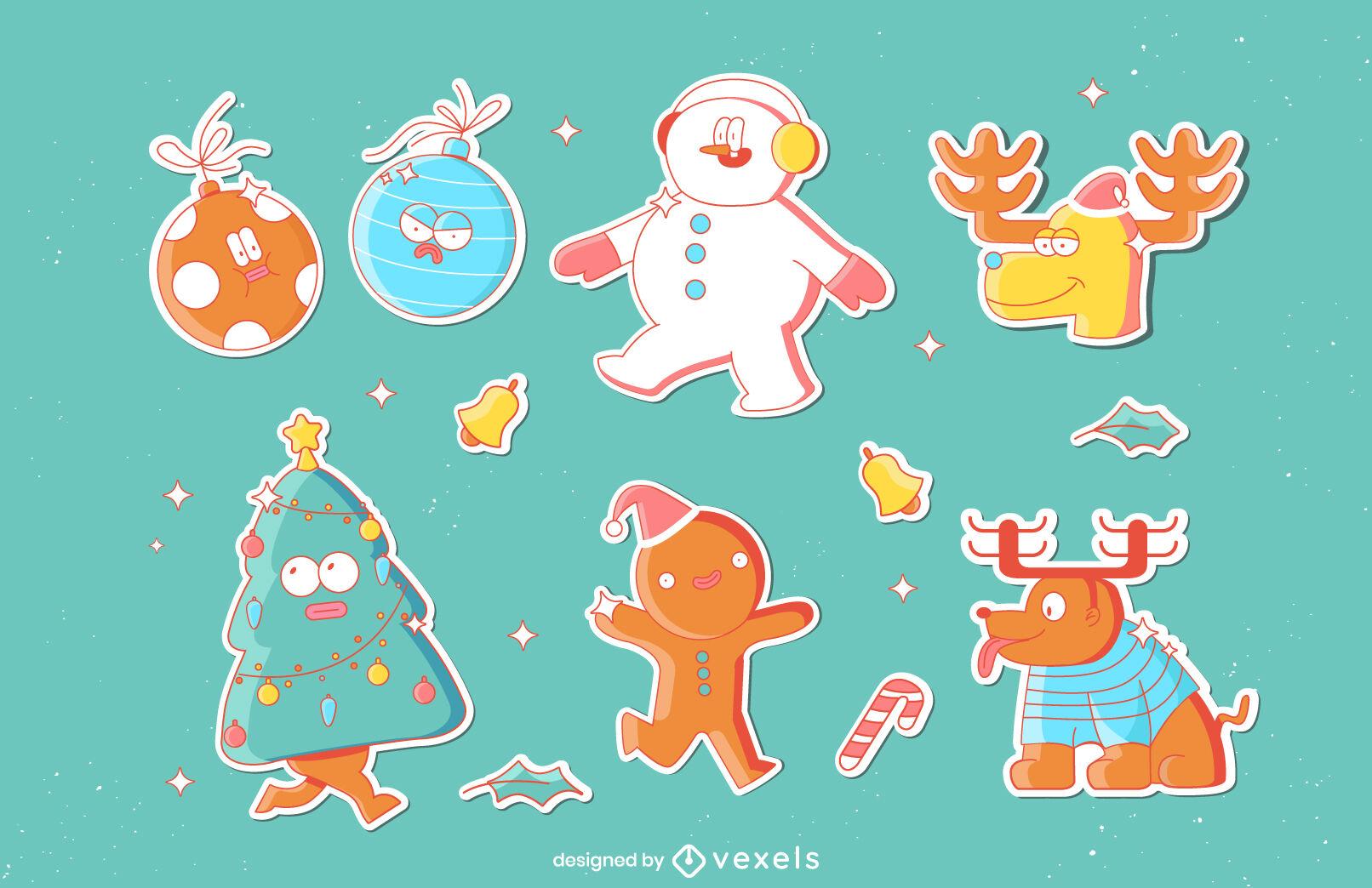 Conjunto de elementos divertidos de vacaciones de Navidad