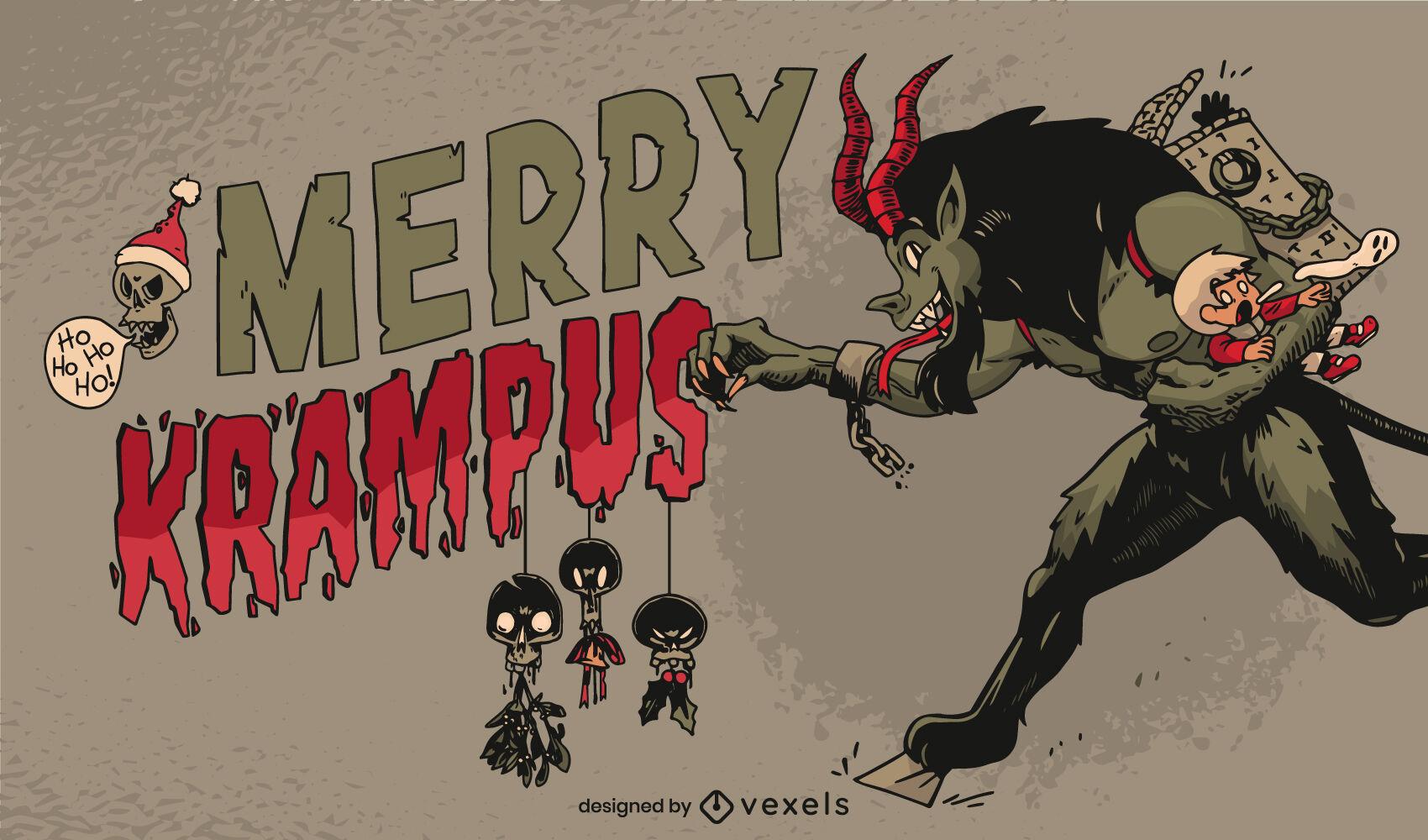 Scary anti christmas krampus illustration