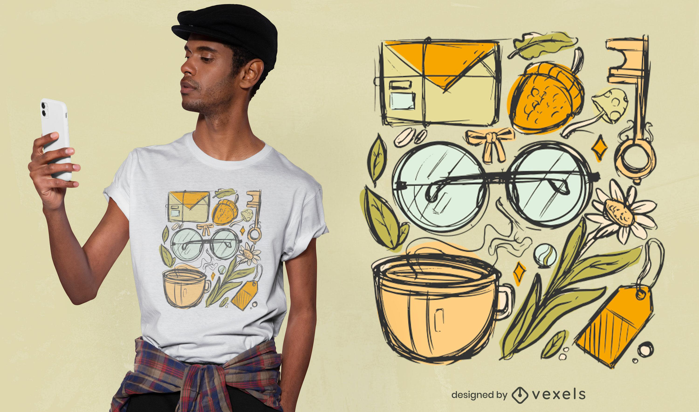 Diseño de camiseta dibujada a mano vintage de Cottagecore