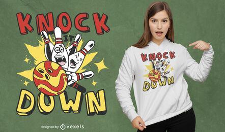 Bowling ball and pins cartoon t-shirt design