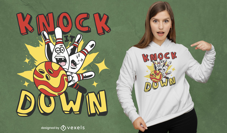 Bowlingkugel und Pins Cartoon-T-Shirt-Design