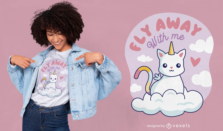 Criatura de gato unicórnio com design fofo de camiseta