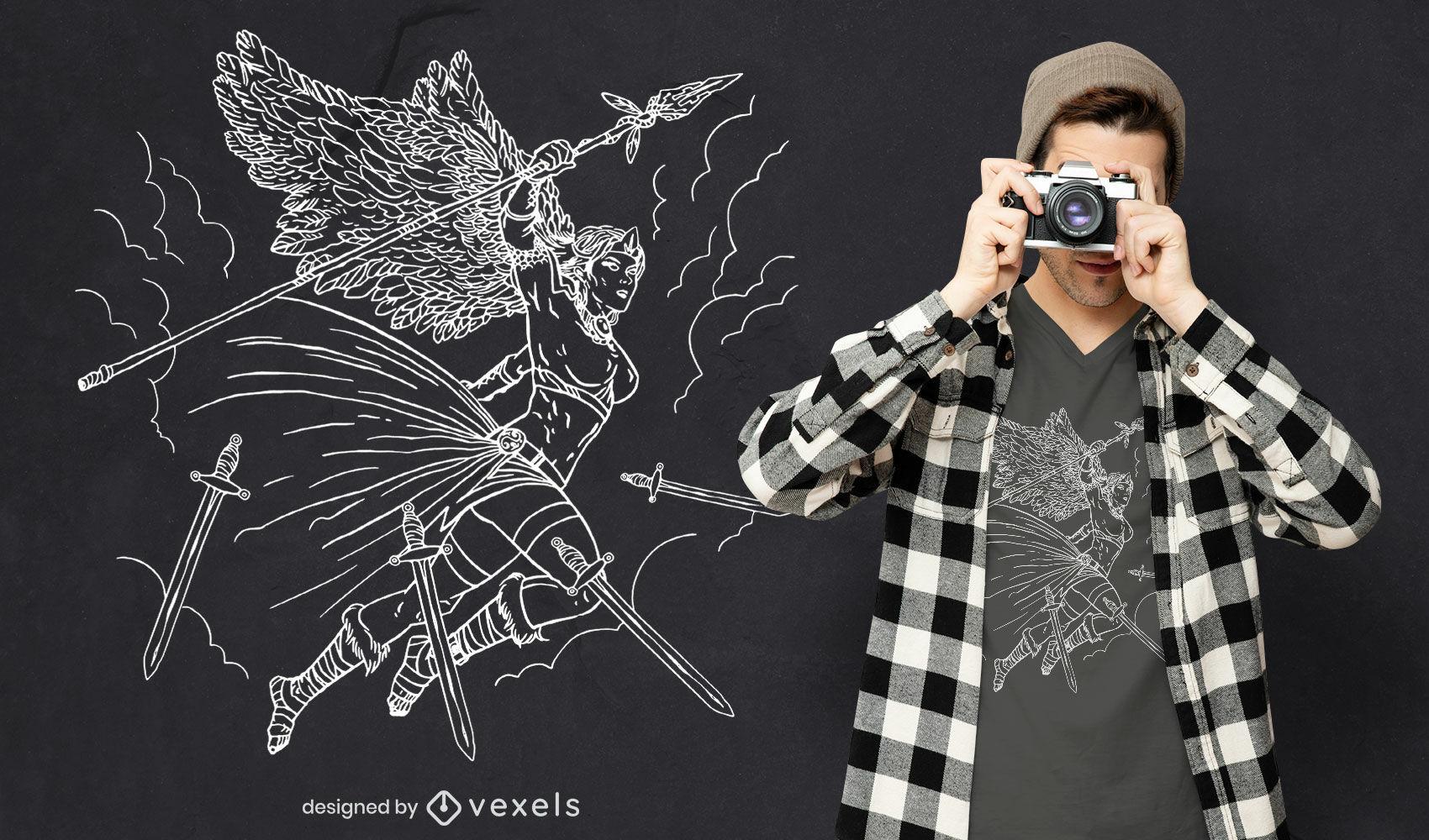 Desenho de t-shirt com linha de arte de personagem guerreiro anjo