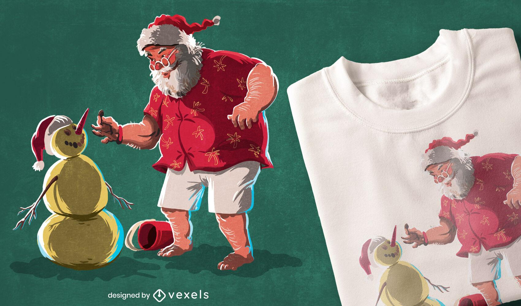 Diseño de camiseta navideña de santa claus y muñeco de nieve.