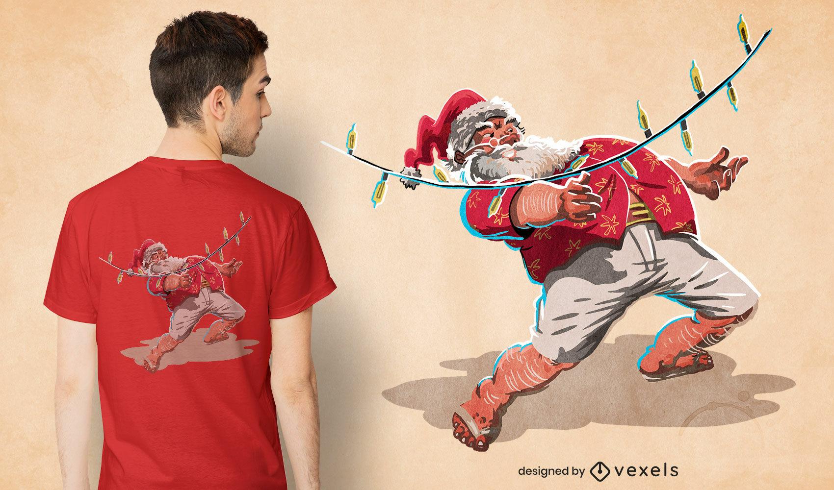 Diseño de camiseta navideña de santa claus