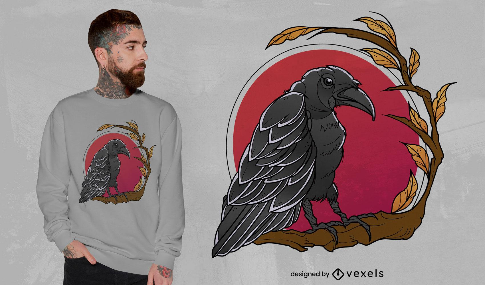 Diseño de camiseta de cuervo pájaro animal sobre luna