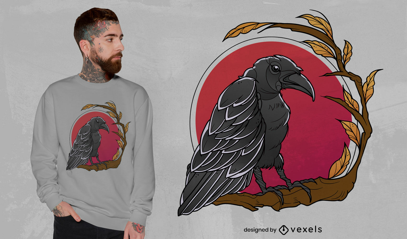 Raven bird animal over moon t-shirt design