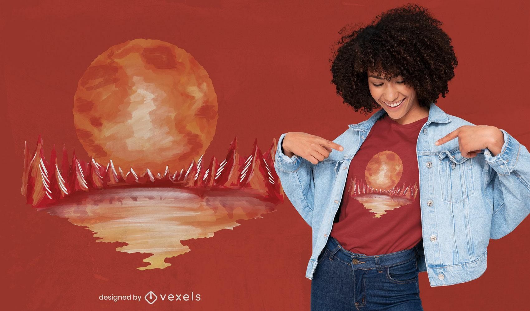 Diseño de camiseta de luna llena de paisaje rojo