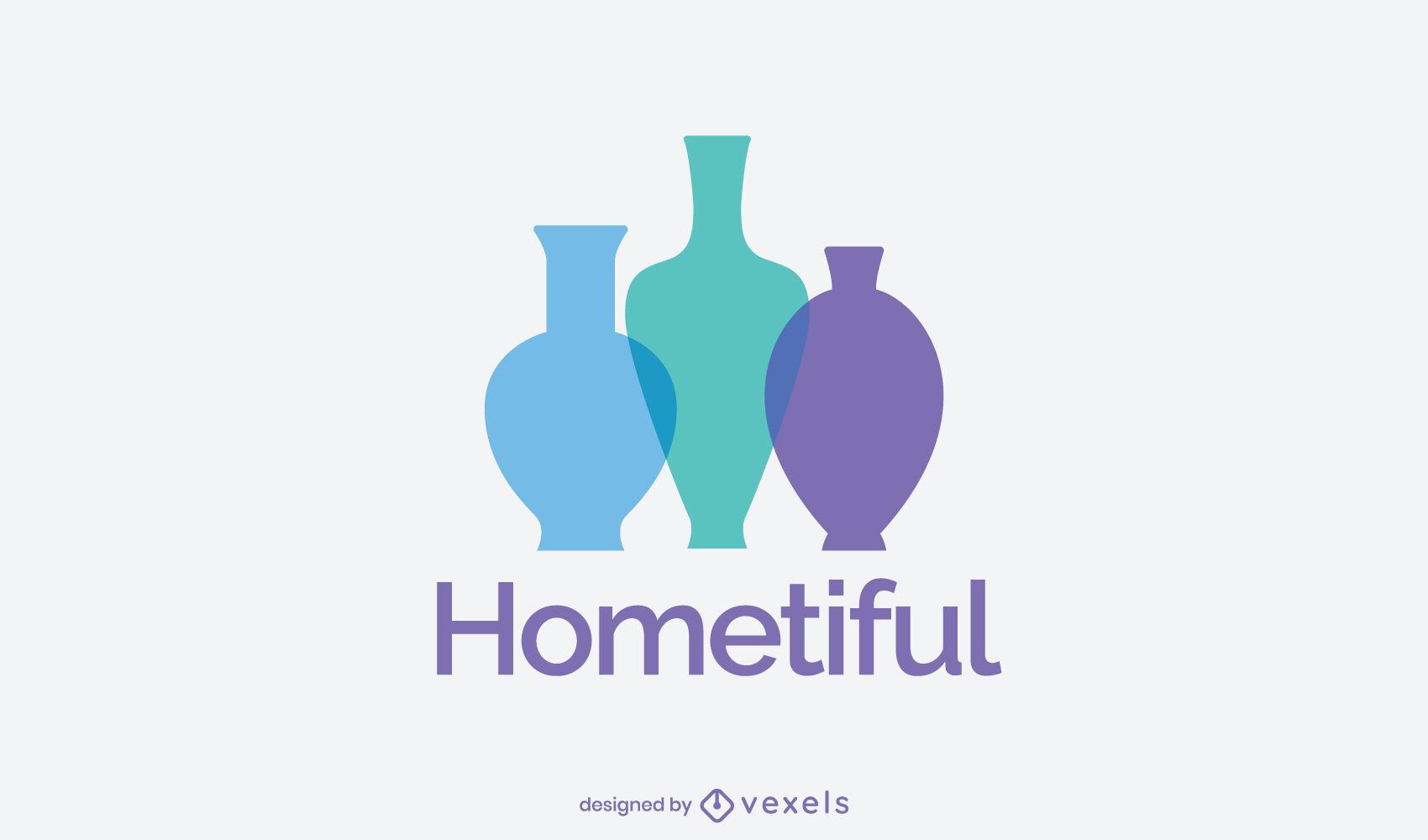 Modelo de logotipo de silhueta de vasos de decoração para casa