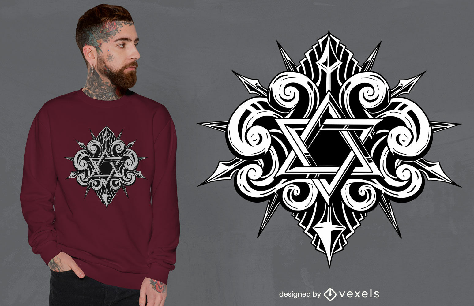 Diseño de camiseta de tatuaje de estrella de david