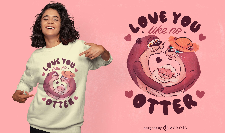 Otter animal couple in love t-shirt design