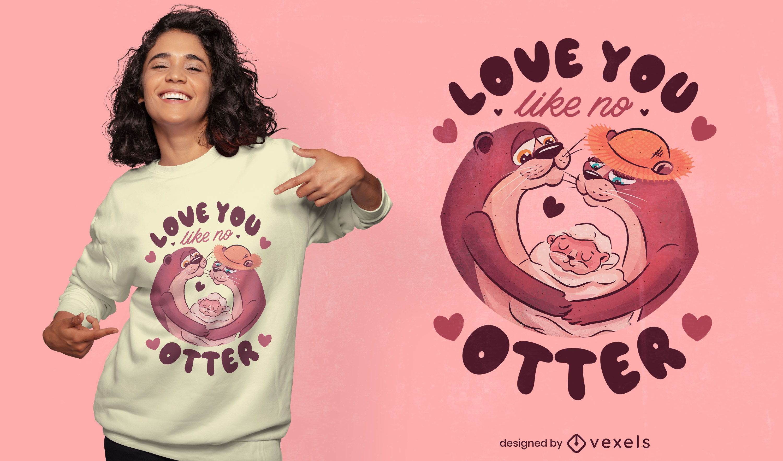 Otter Tierpaar verliebt T-Shirt Design
