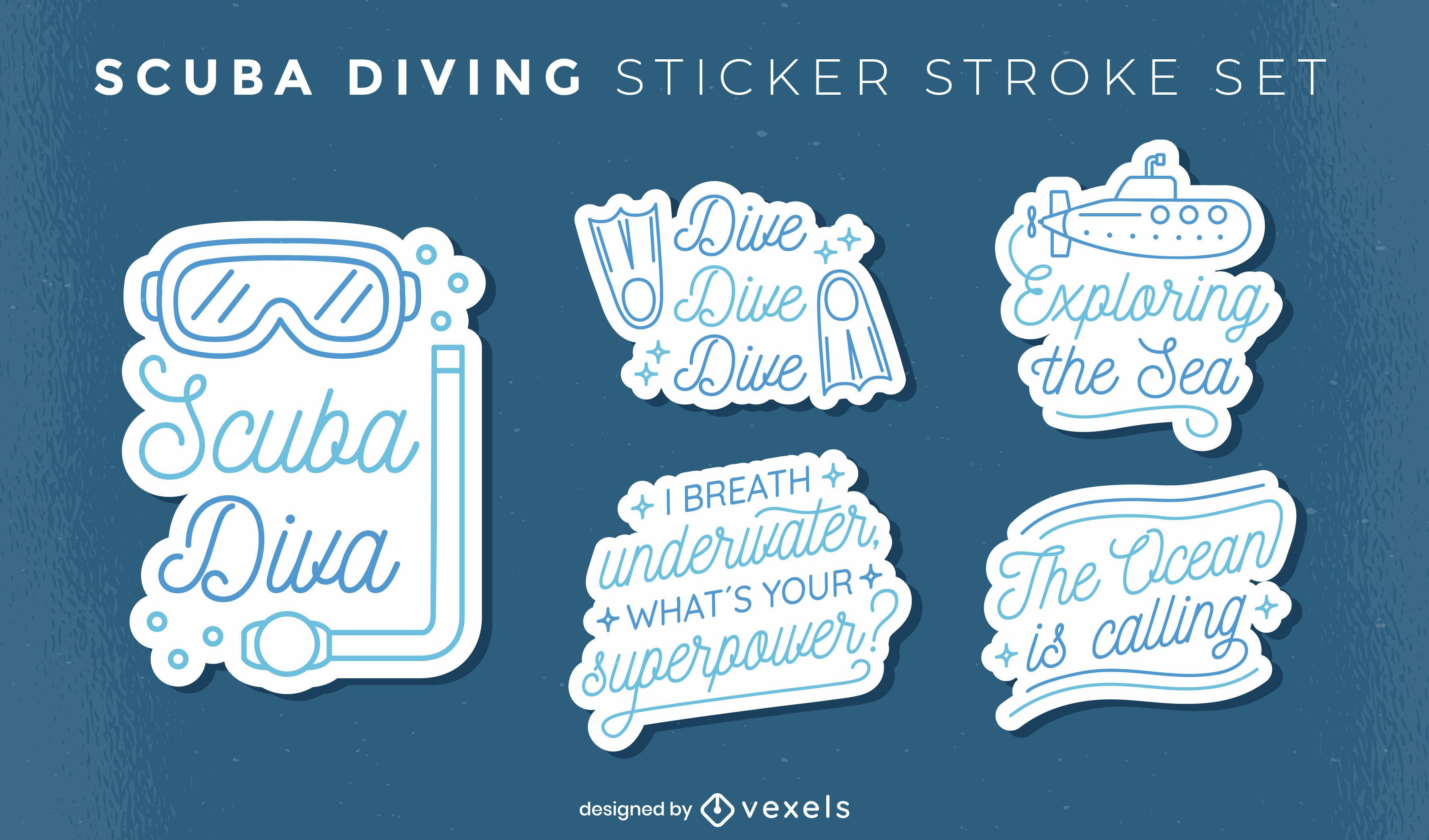 Scuba diver sticker quotes set