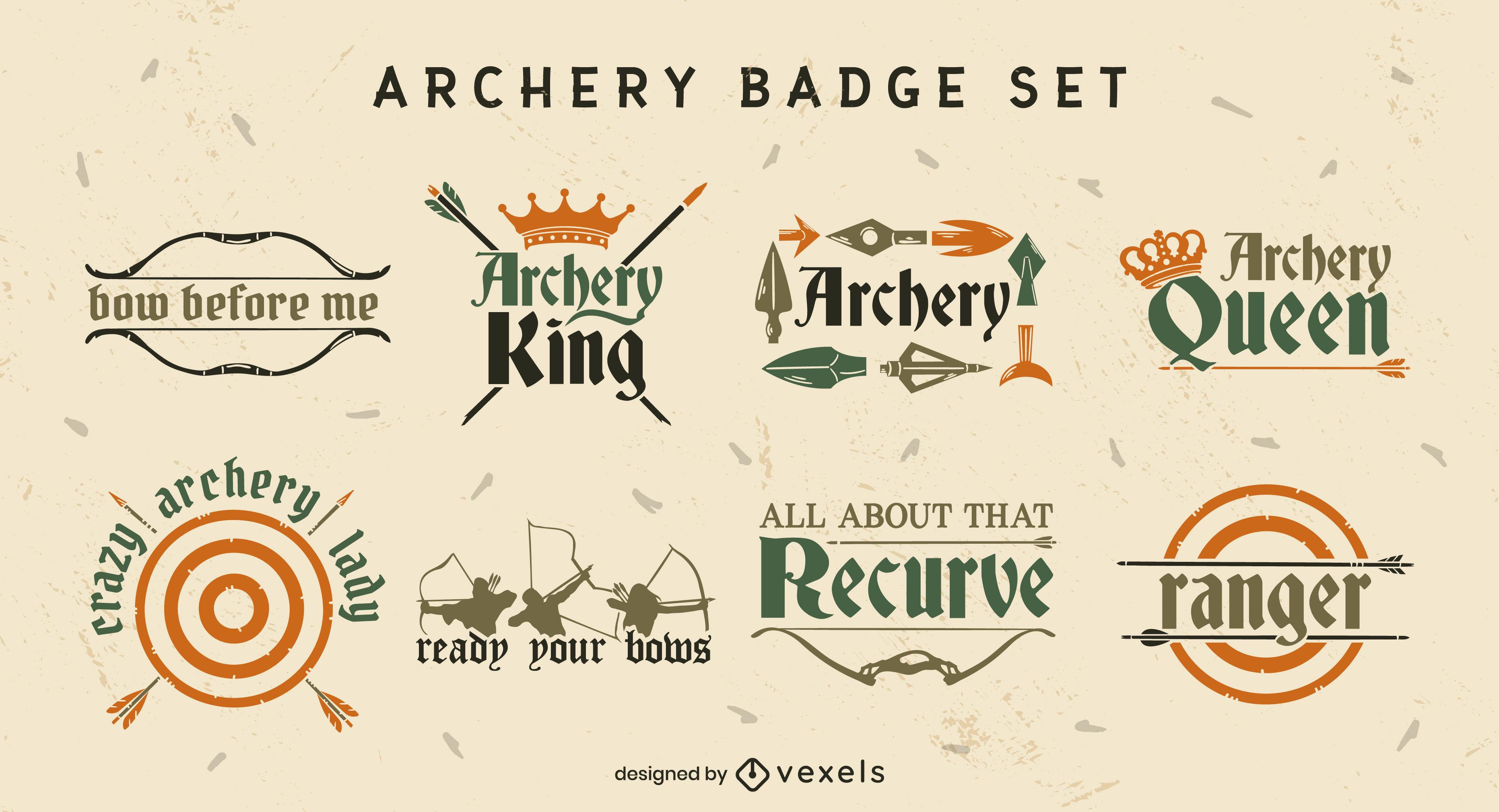 Conjunto plano de insignias de tiro con arco