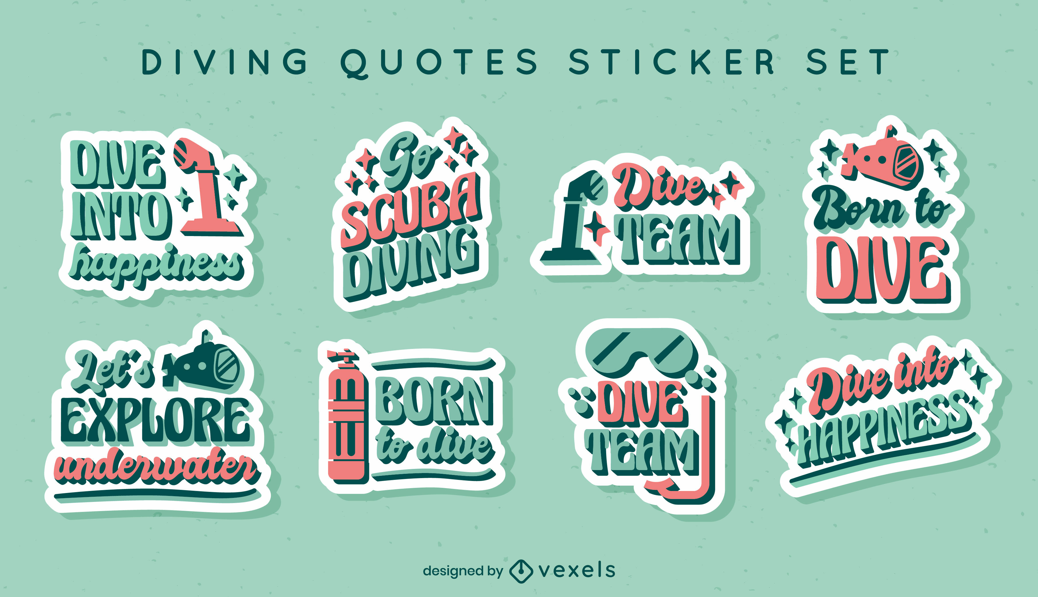 Diving quote stickers lettering set