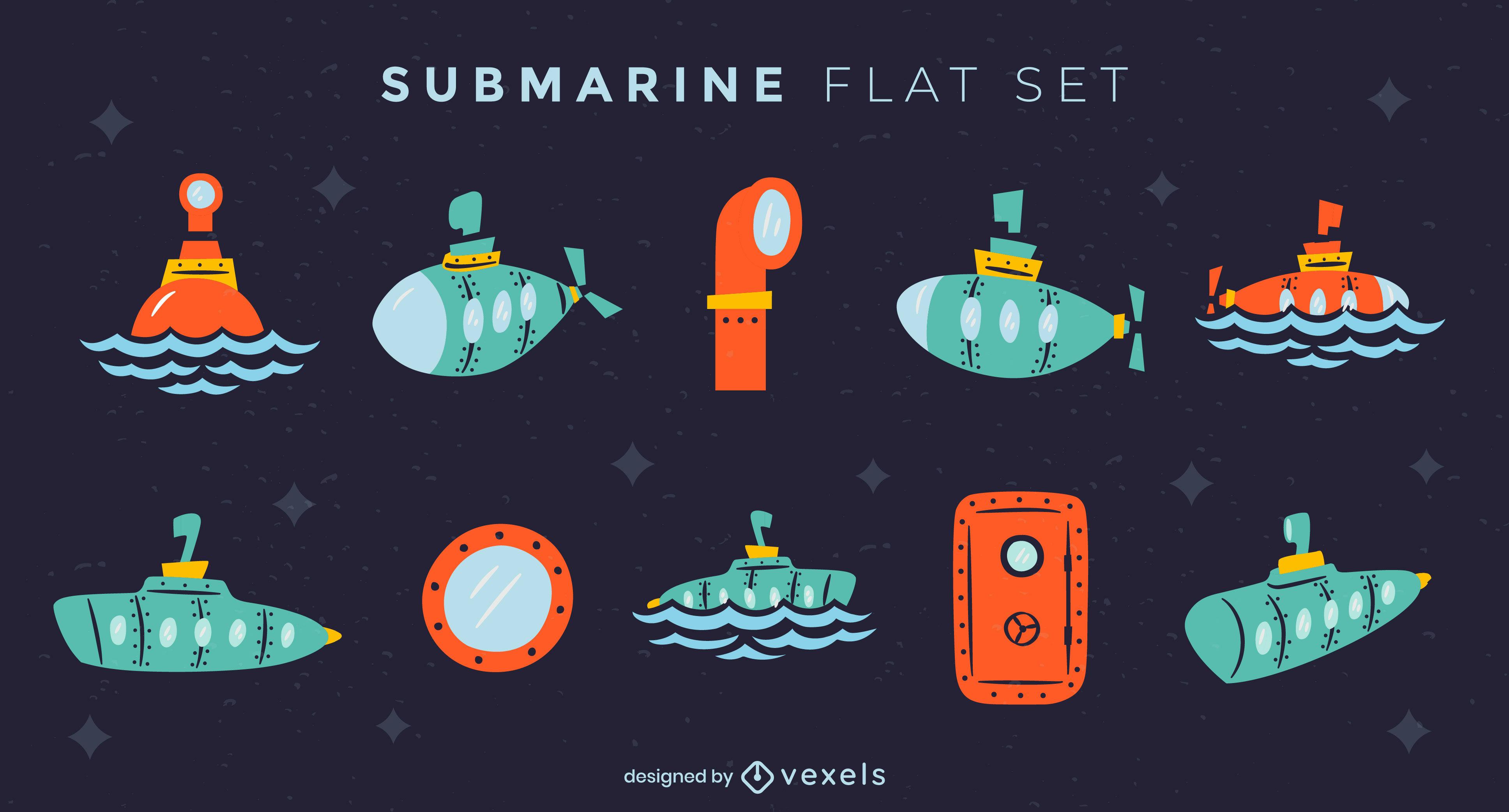 Conjunto plano submarino de elementos.