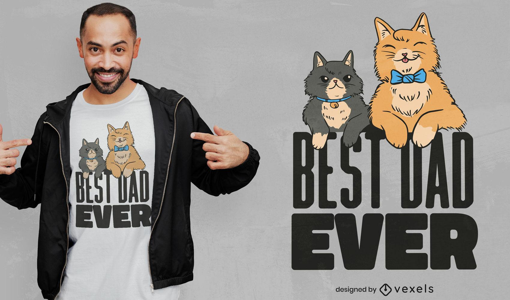 Feliz pai e filho com design de t-shirt de gatos
