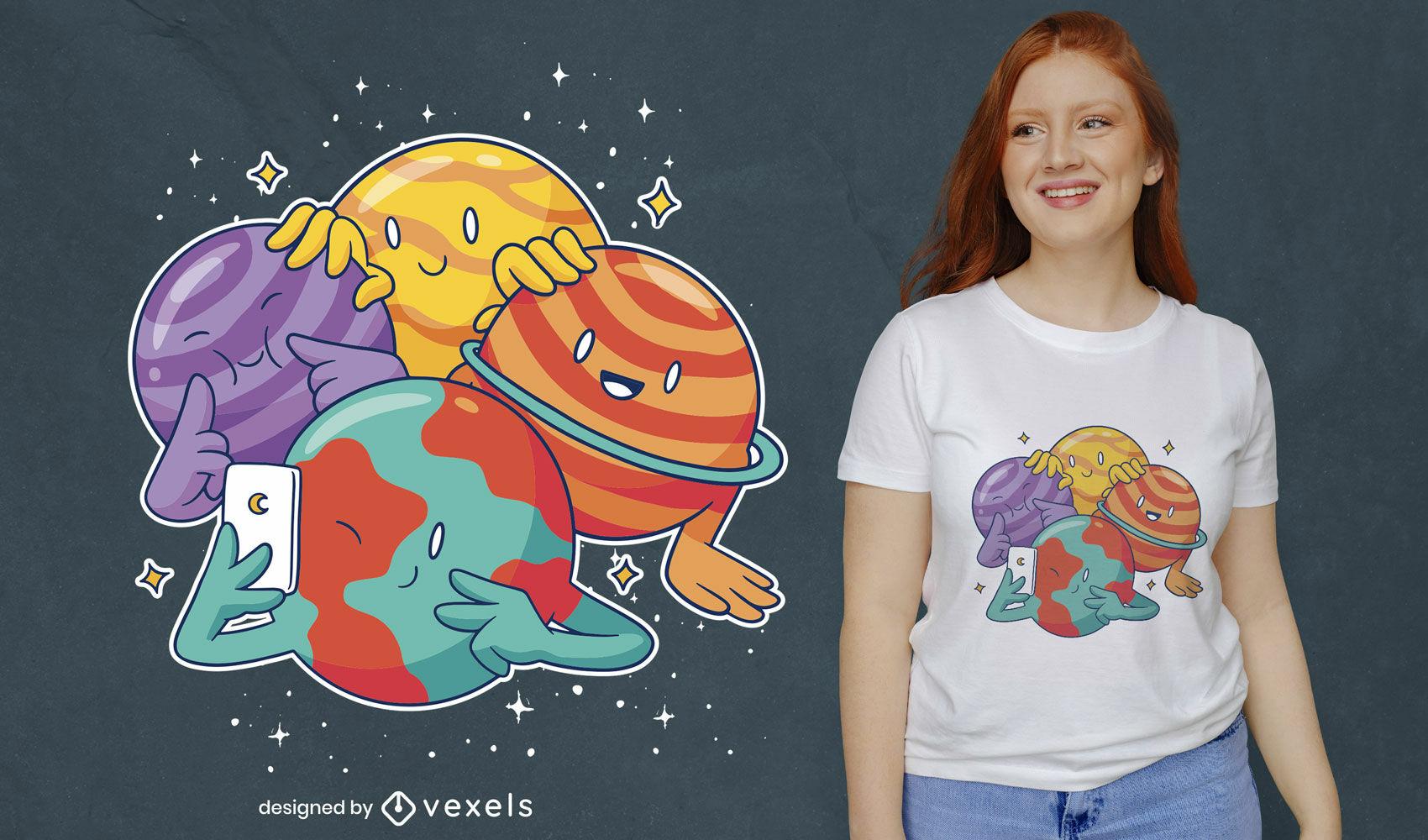 Planetas espacio selfie lindo diseño de camiseta.