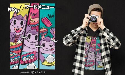 Diseño de camiseta de gato comiendo comida japonesa.