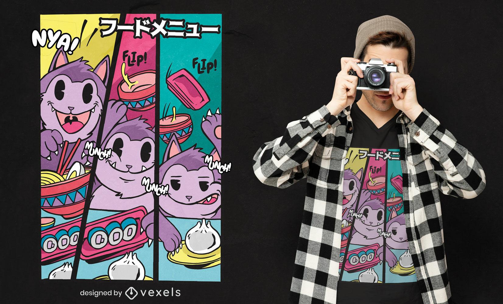 Katze isst japanisches Essen T-Shirt Design