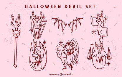 Conjunto de trazos de criaturas del infierno de diablos de Halloween