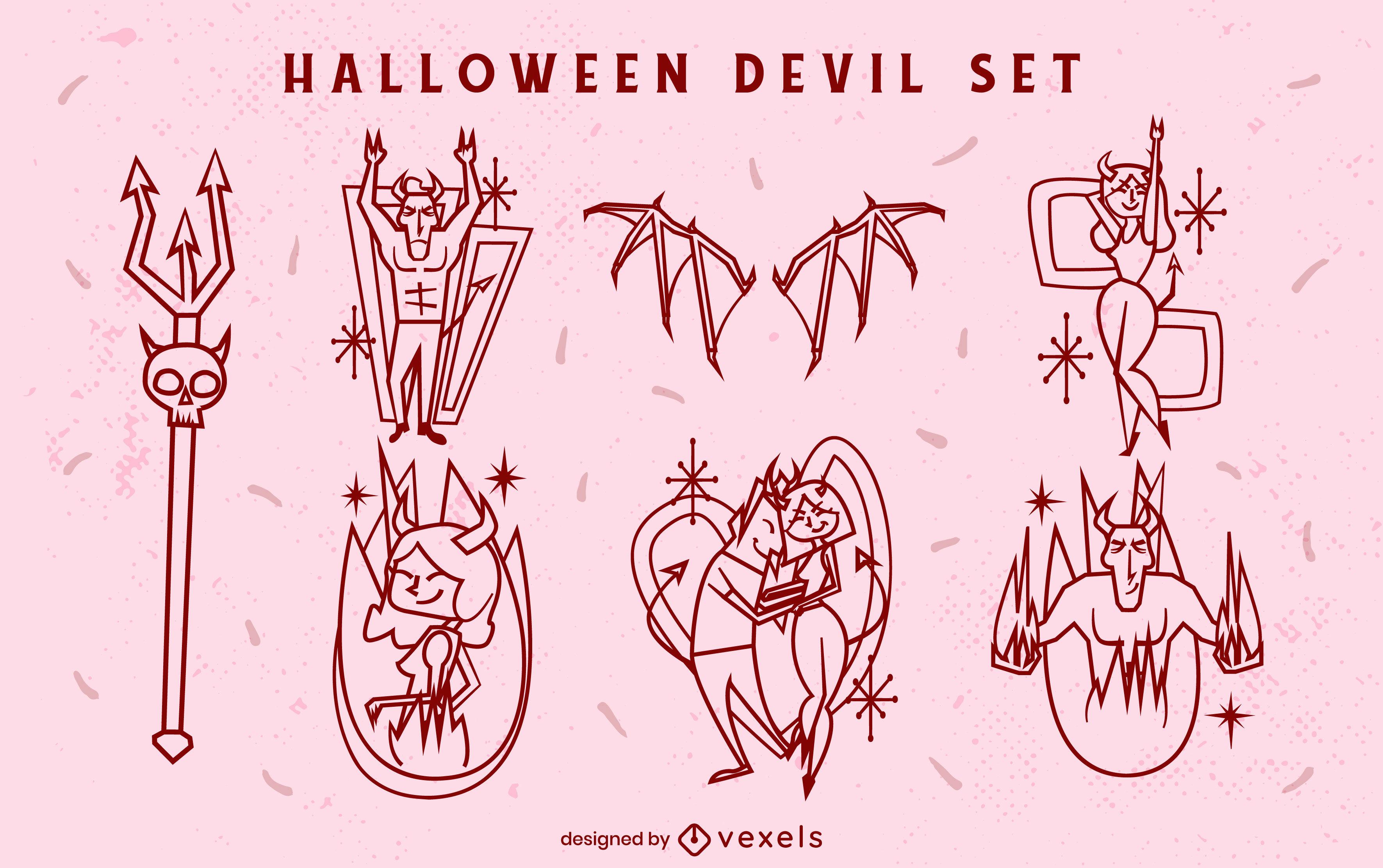 Halloween devils hell creatures stroke set
