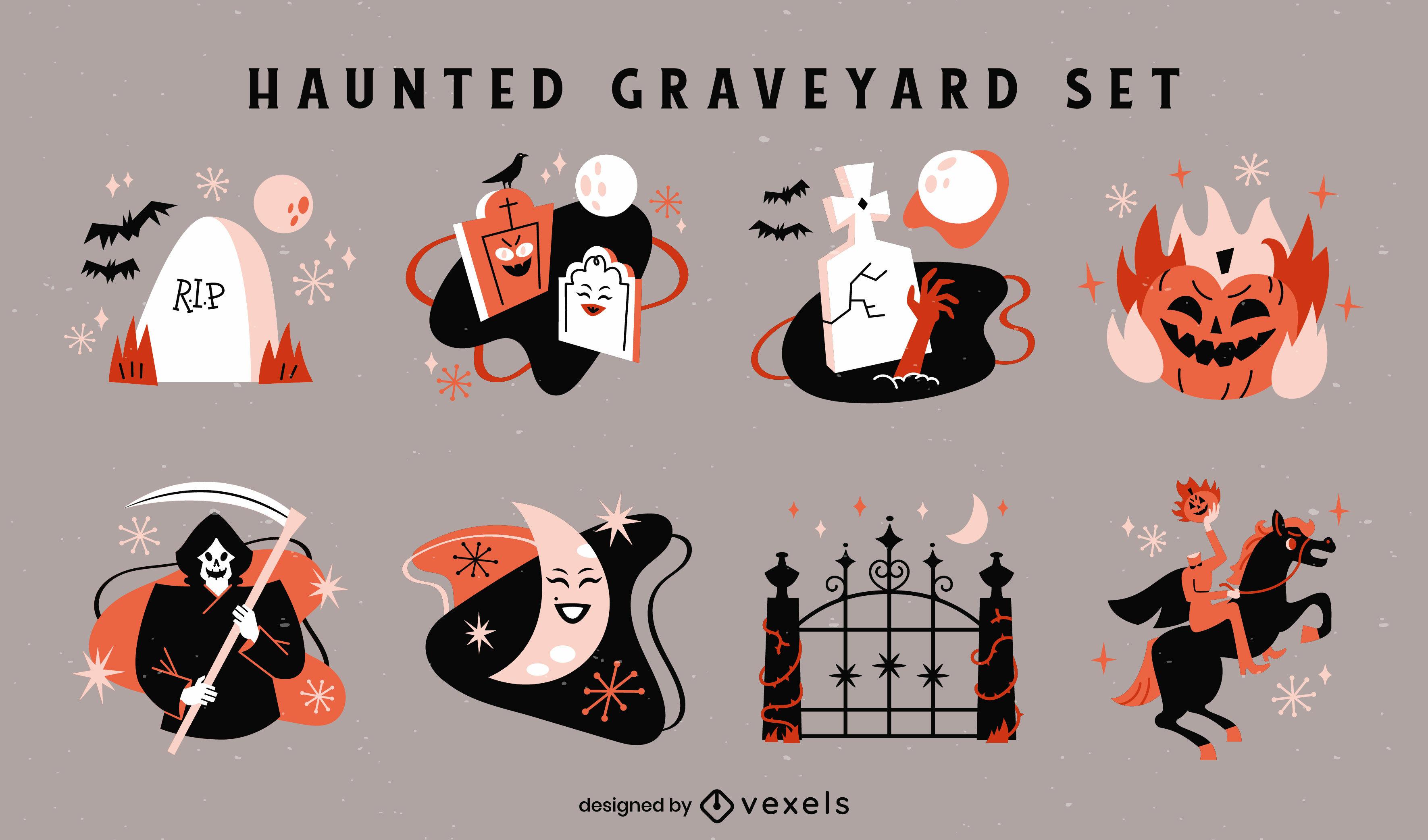 Halloween holiday graveyard spooky set