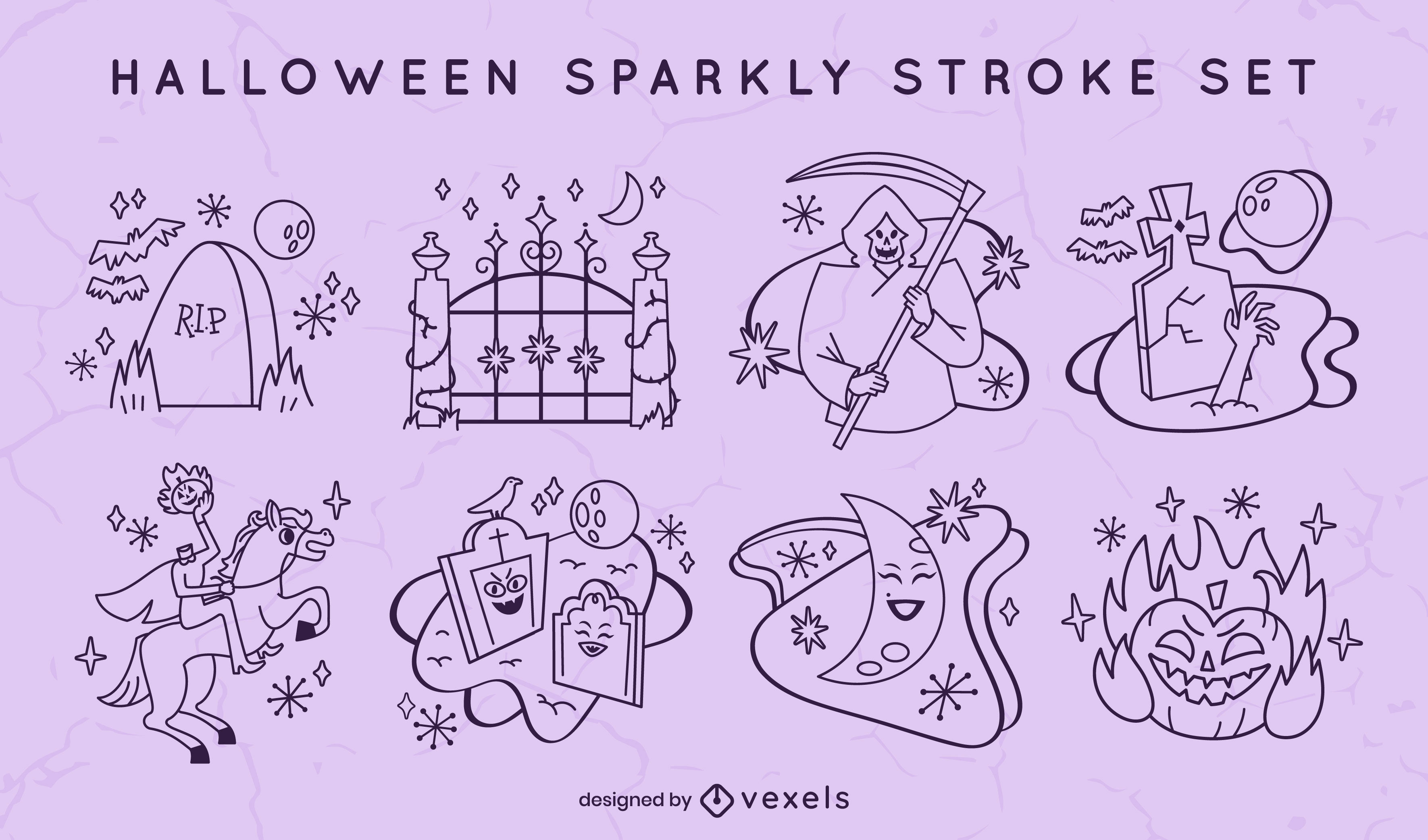 Conjunto de traços assustadores de cemitério de feriado de Halloween