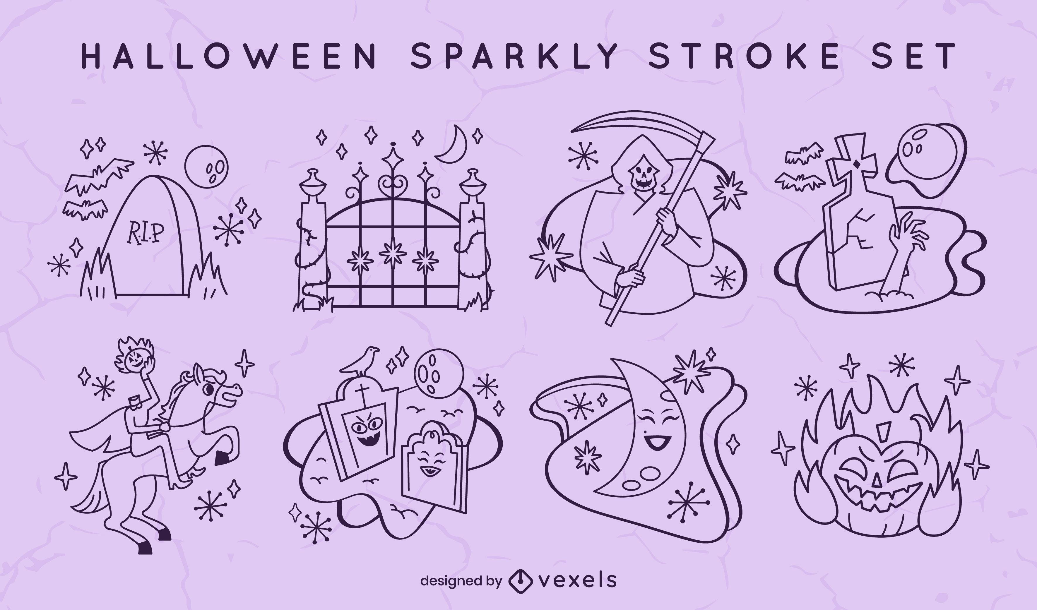 Conjunto de trazos espeluznantes de cementerio de vacaciones de Halloween