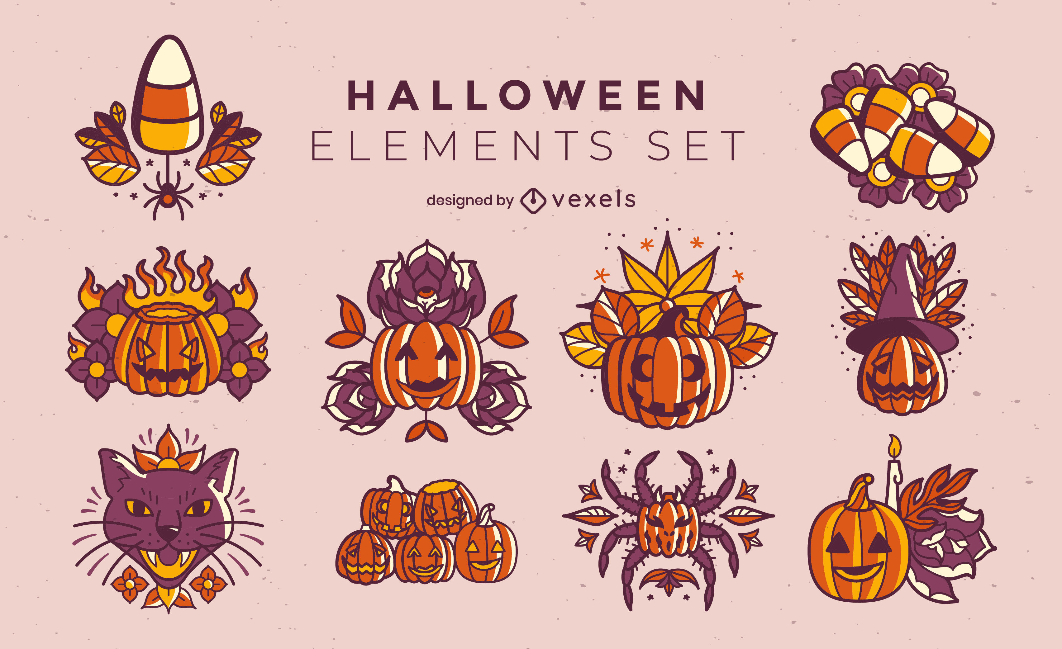 Conjunto de jack o lanterns de feriado de Halloween