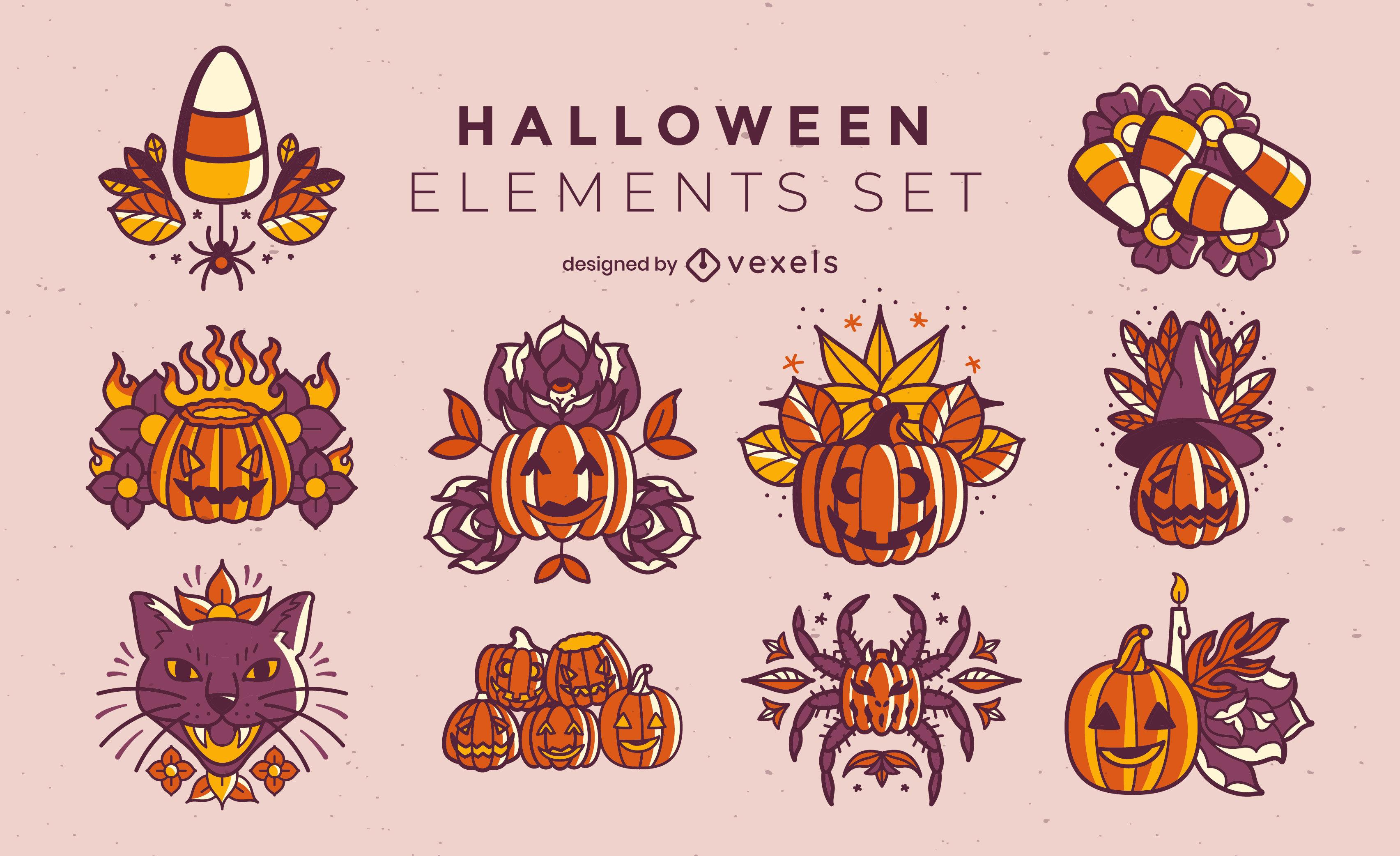Halloween holiday jack o lanterns set