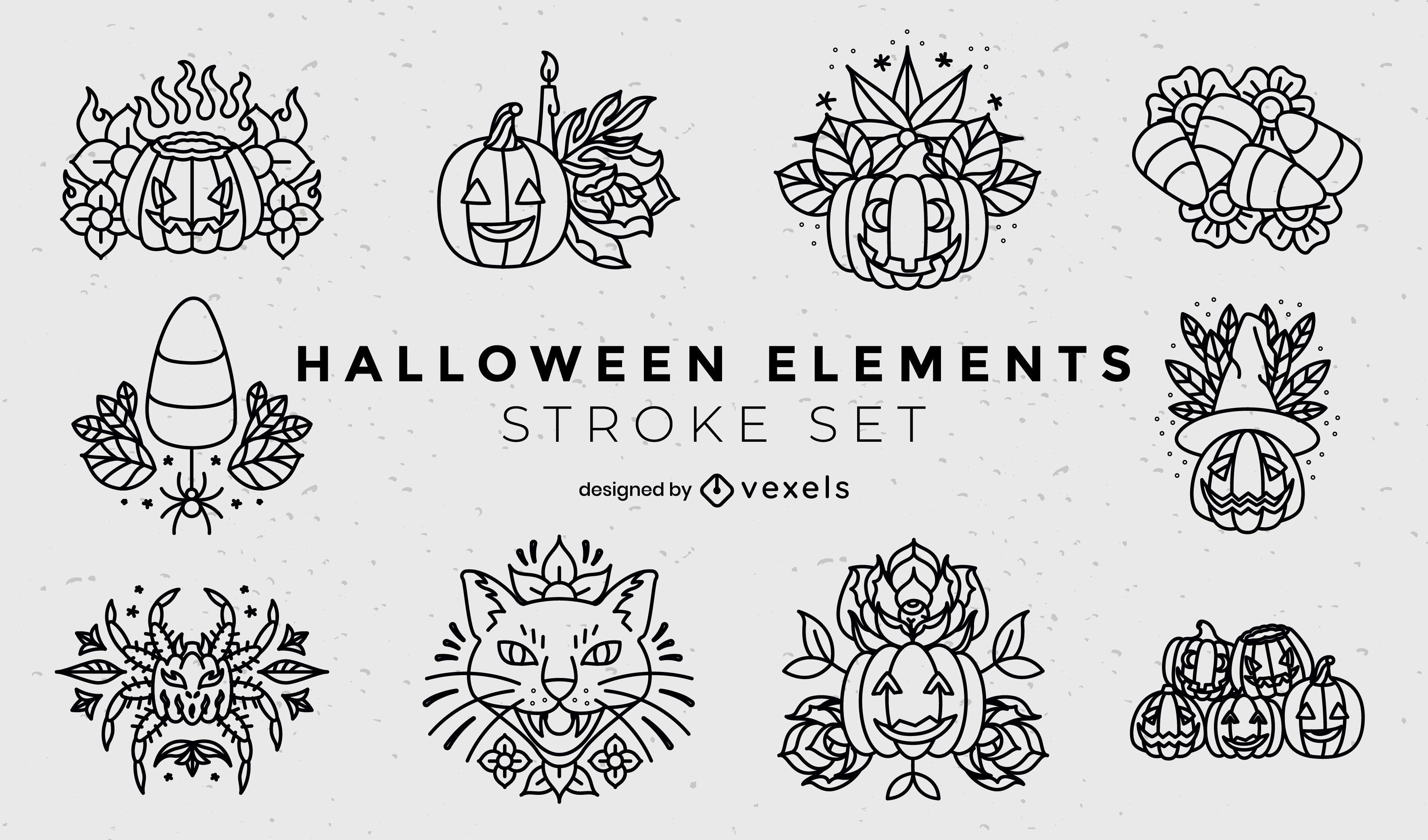 Halloween holiday jack o lanterns stroke set