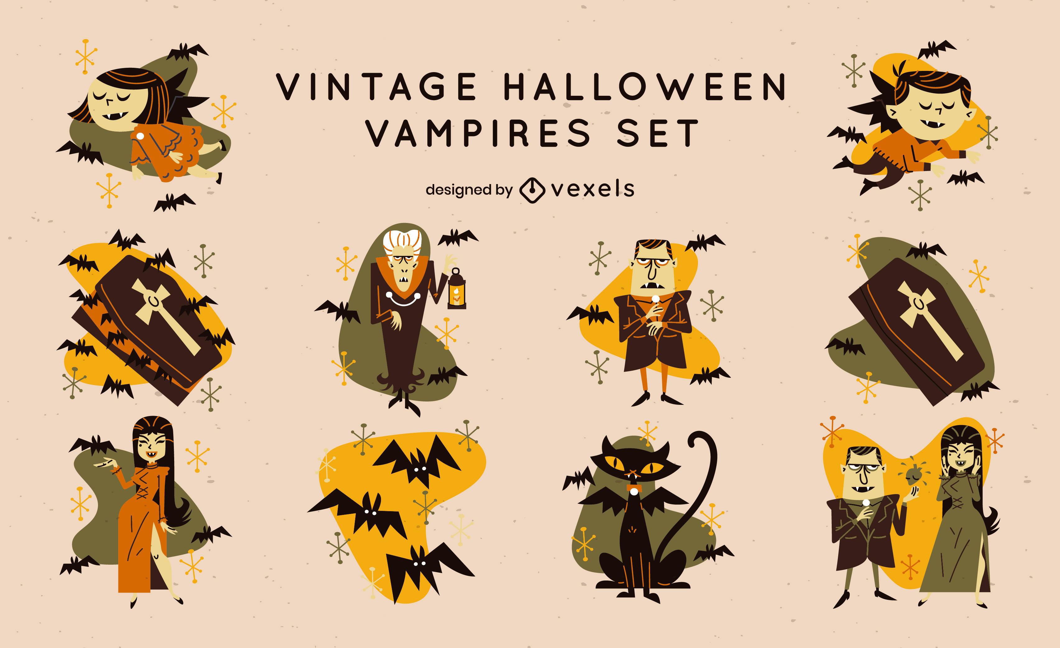 Conjunto vintage de monstruos vampiros de halloween