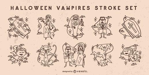 Halloween vampire monsters stroke set