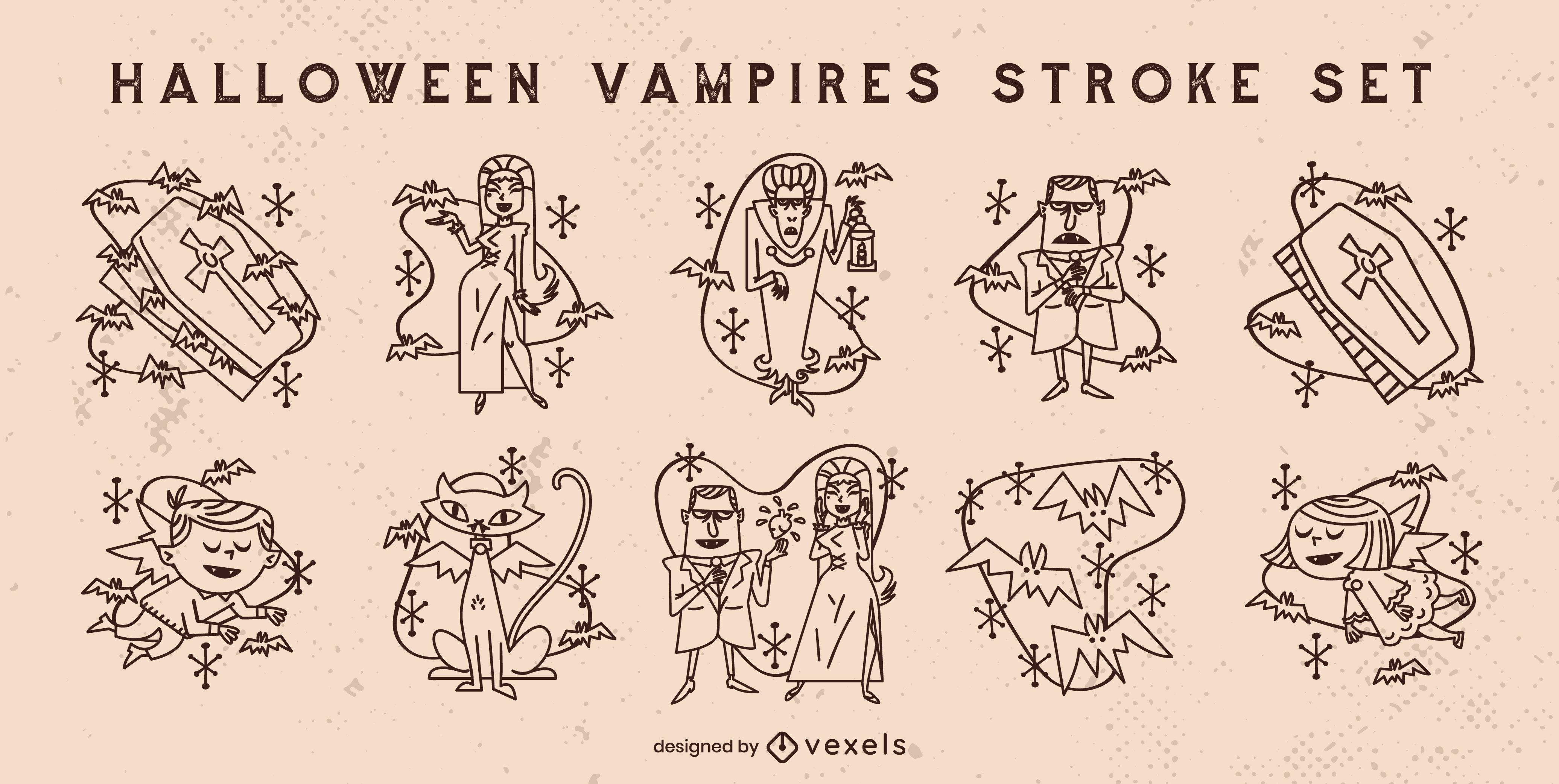 Conjunto de derrames de monstros vampiros para Halloween