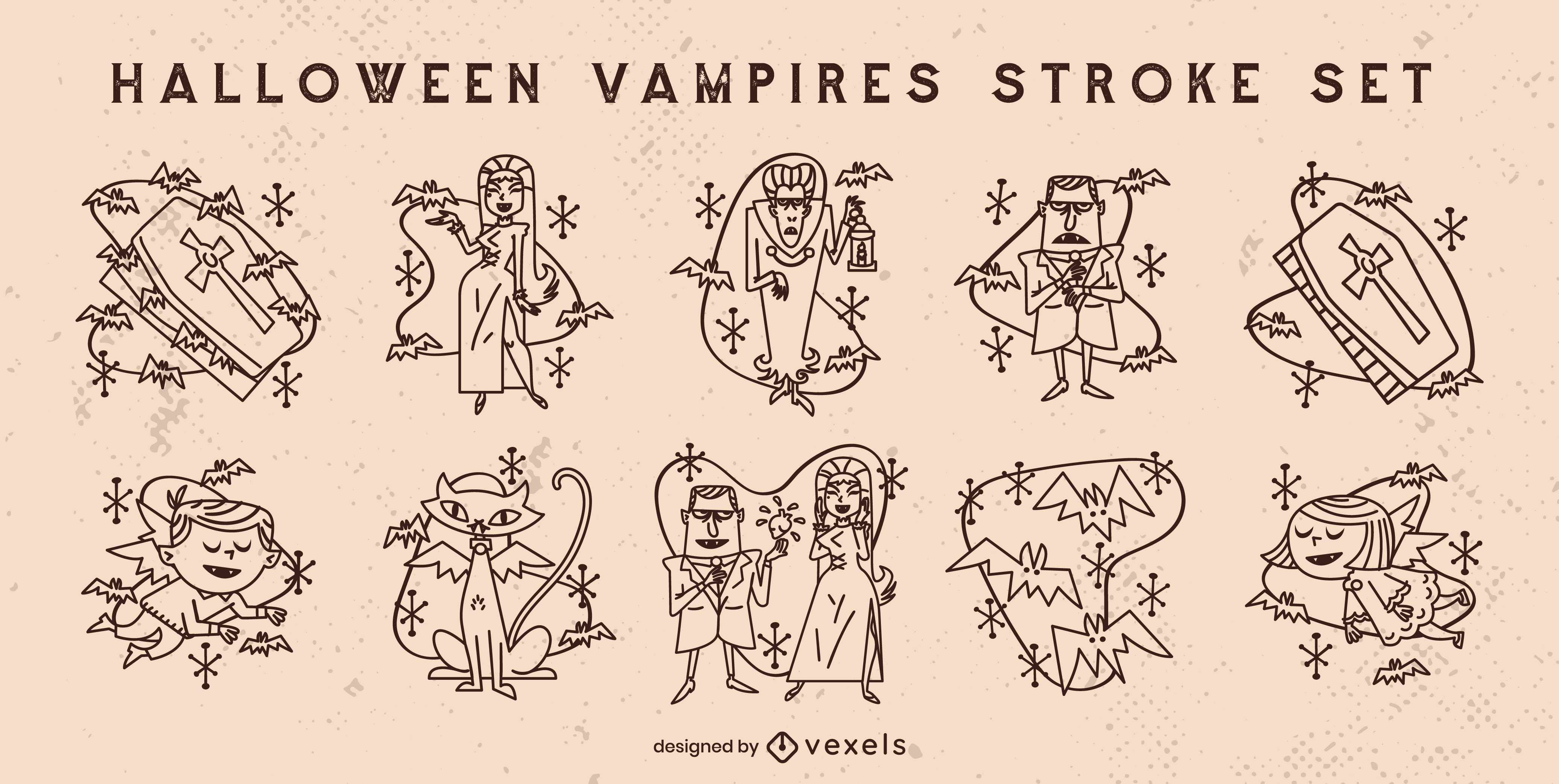 Conjunto de trazos de monstruos vampiros de halloween
