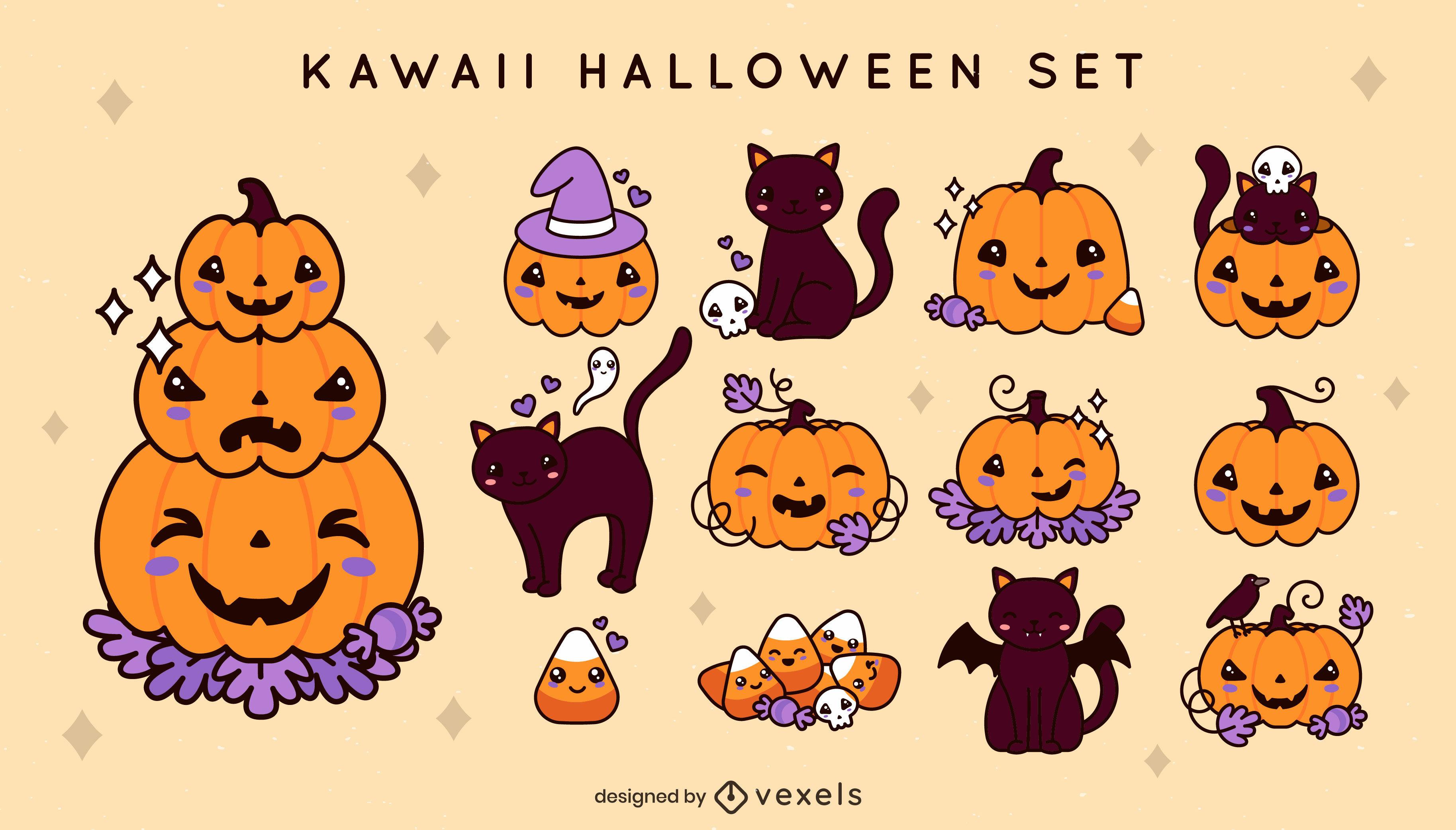 Kawaii halloween holiday elements set