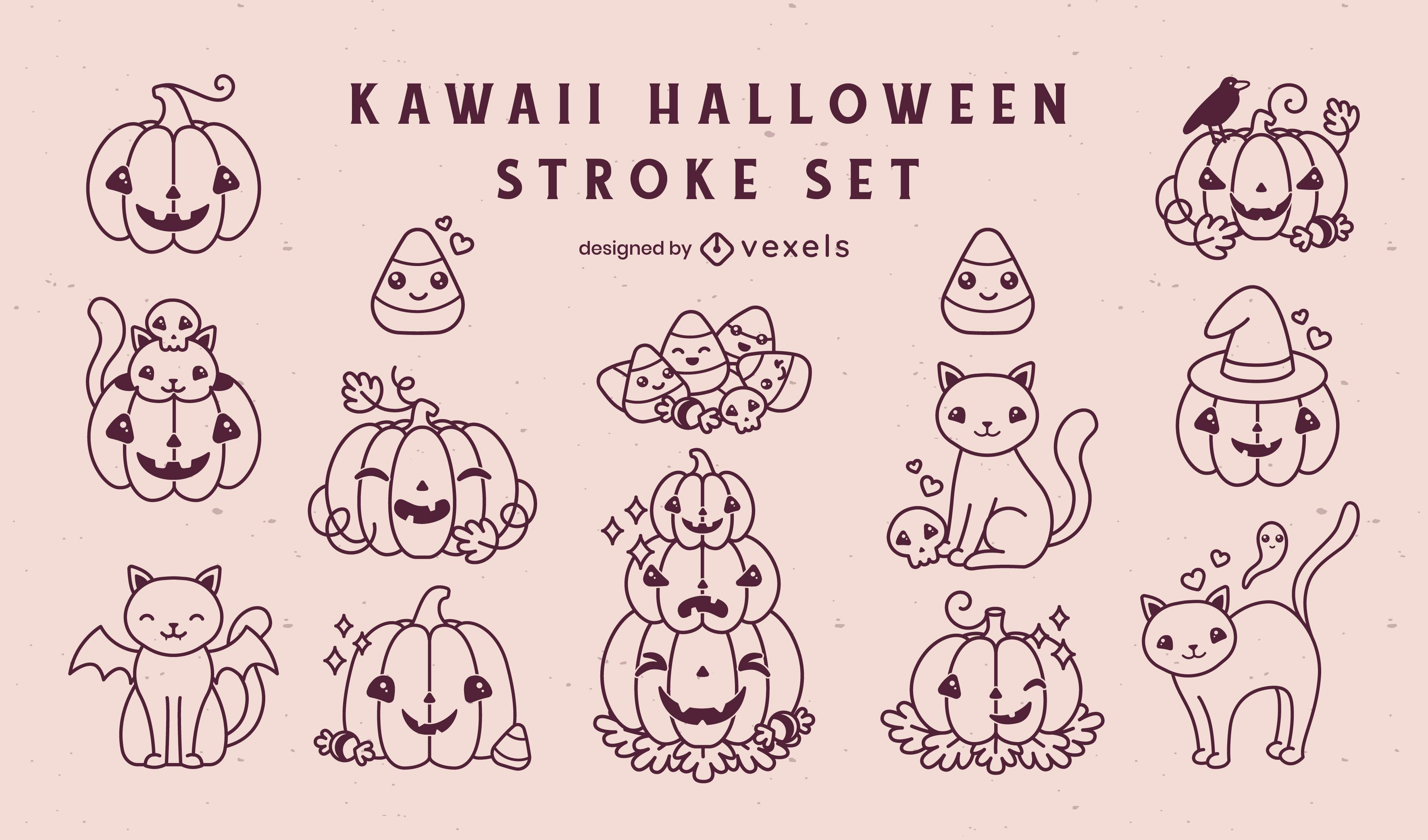 Kawaii halloween holiday elements stroke set
