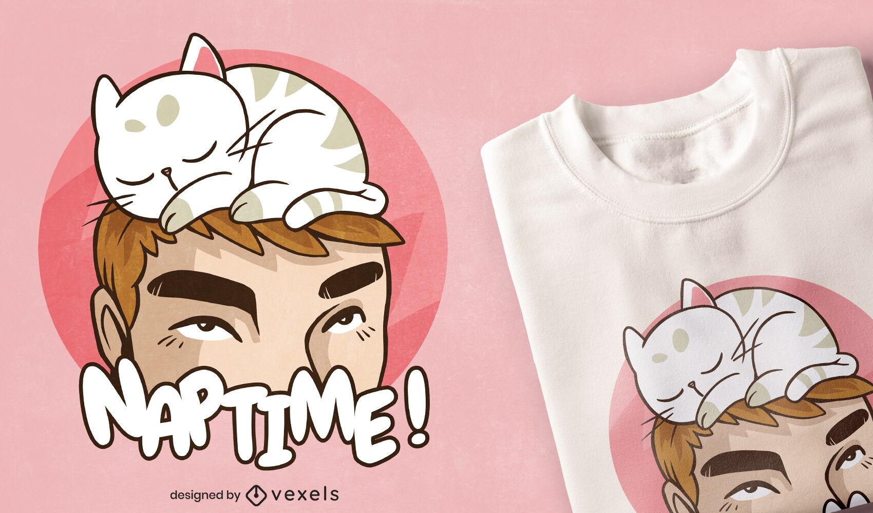 Cat animal sleeping on man t-shirt design