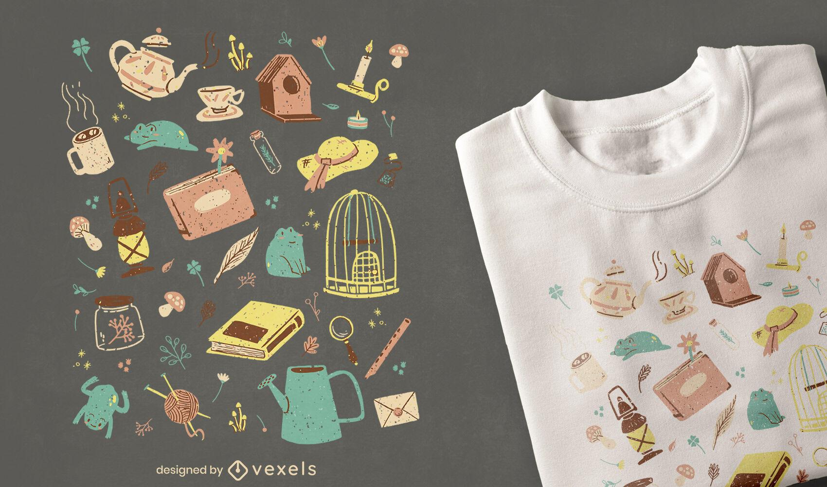 Diseño de camiseta de elementos de Cottagecore