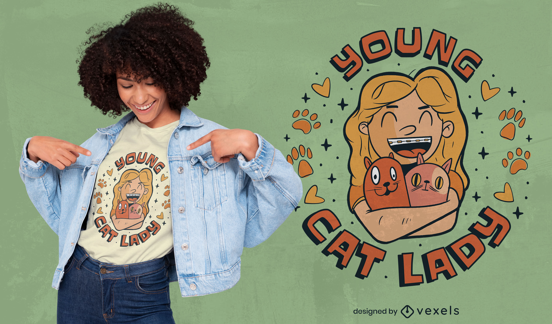 Diseño de camiseta de mujer feliz y gatos.
