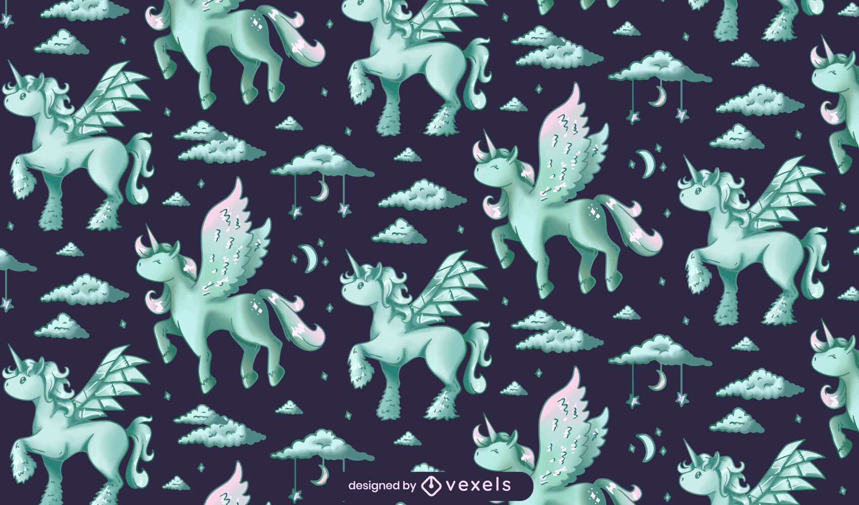 Magical unicorns with wings pattern design