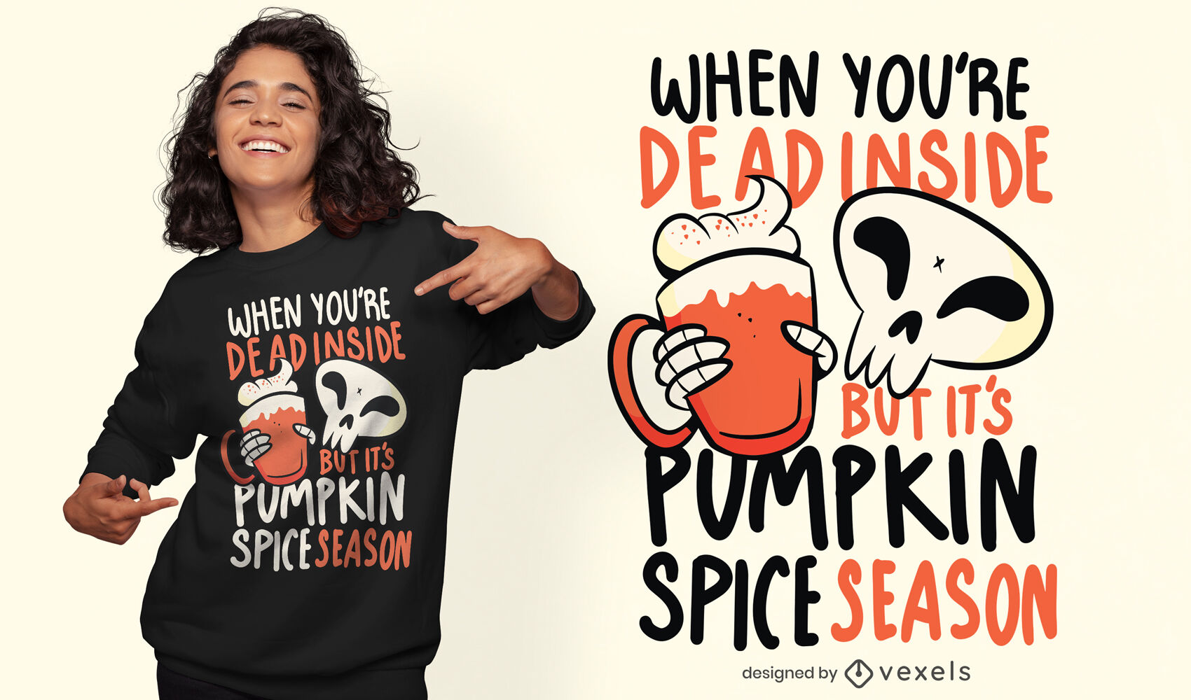 Esqueleto com design de camiseta com bebida de abóbora