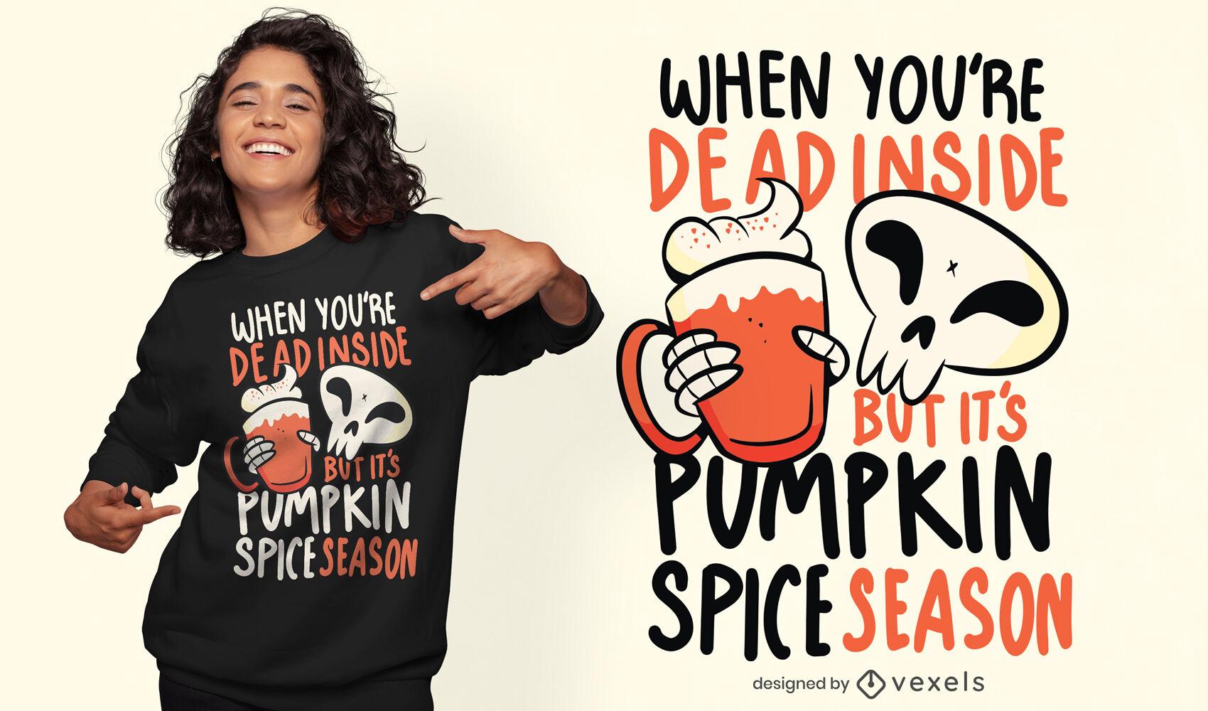 Skelett mit Kürbisgetränk-T-Shirt-Design
