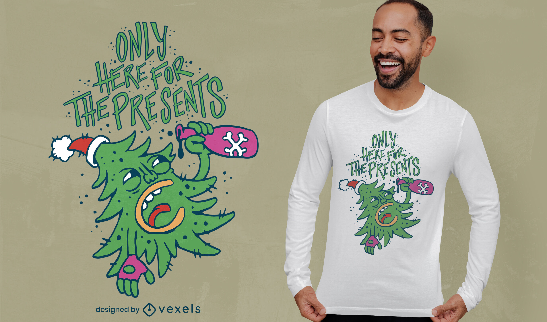 Diseño de camiseta anti navidad borracho árbol de navidad