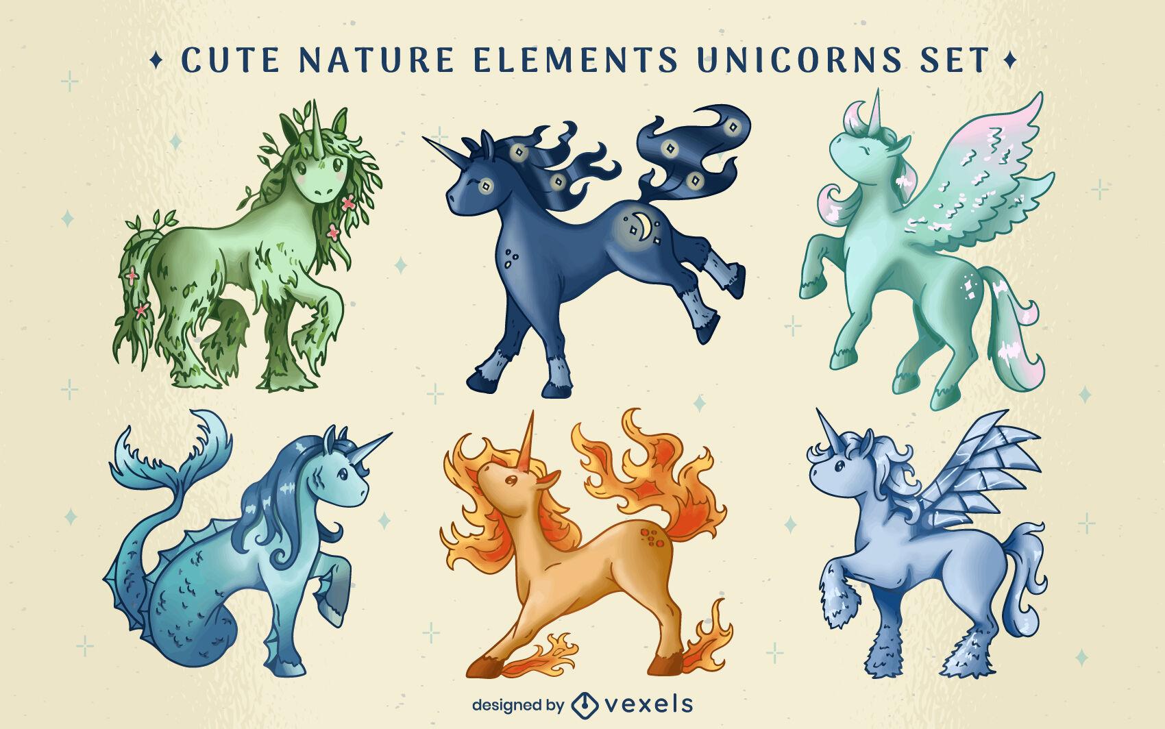 Elemental unicorn creature magical set